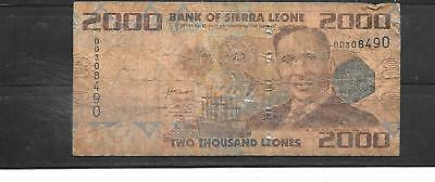 Sierra Leone #31 2010 2000 Leones  Good Used Old Banknote Paper Money Bill Note