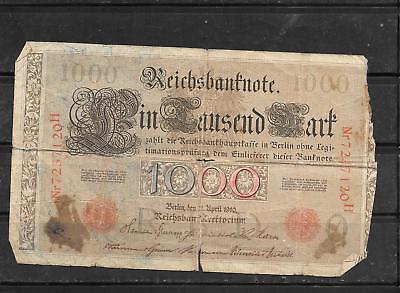GERMANY #44b 1910 AG CIRC 1000 MARK OLD BANKNOTE PAPER MONEY BILL NOTE