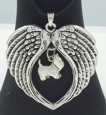 West Highland Terrier Westie  Dog  Lovers Angel Wings Memory Leather Necklace