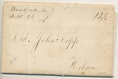 1832 Bradford Maine Manuscript Cancel on Stampless 2 Page Letter to Hebron