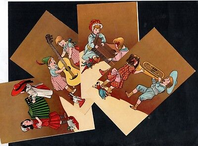 H408 postcard artist designed children with musical instruments 4 cards