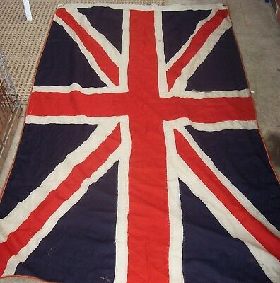 LARGE VINTAGE BRITISH HAND STICHED flag  70 inchs by 43 inchs need few repairs