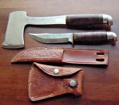 Old WESTERN Camping Hatchet Vintage Hand Axe Hunting Knife Tooled Sheaths Set A+