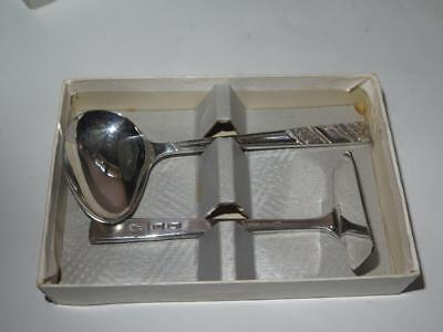 Vintage VINERS Silver Plated Christening Gift Feeding Spoon & Food Pusher Boxed