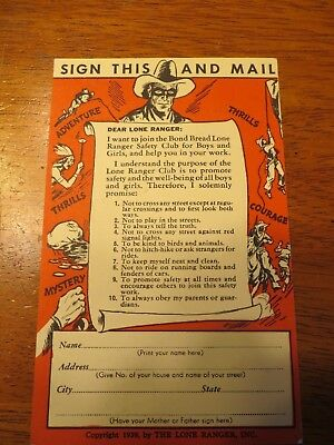 Lone Ranger Card Bond Bread Bakers Safety club 1939