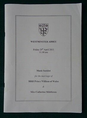 Antique Music Programme Marriage Prince William of Wales to Catherine Middleton