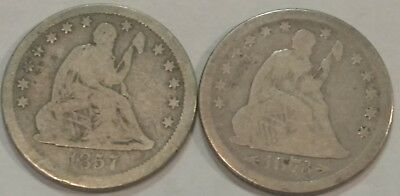 G-VG Seated Liberty silver quarter dollar PAIR. 1857 & 1873 with arrows.