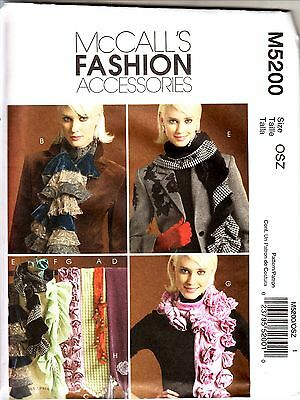 McCall  5200 FASHION ACCESSORIES 7 Fancy Day & Evening SCARFS & PIN OSZ Pattern