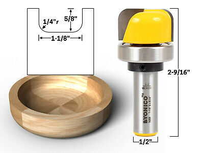 "1-1/8"" Diameter Bowl & Tray Template Router Bit - 1/2"" Shank - Yonico 14959"