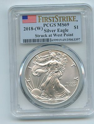 2018 (W) $1 American Silver Eagle Dollar Struck Westpoint PCGS MS69 First Strike
