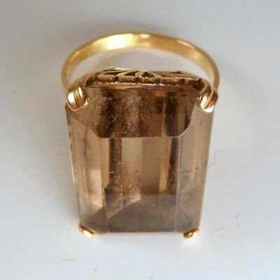 Stunning Vintage Chunky 18Ct Gold & Large Smokey Quartz Ring Size S