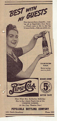 1942 newspaper ad for Pepsi - Best With Guests, woman holds 12 ounce bottle