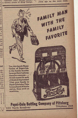 1942 newspaper ad for Pepsi - 6 bottle carton, Family Man with Family Favorite