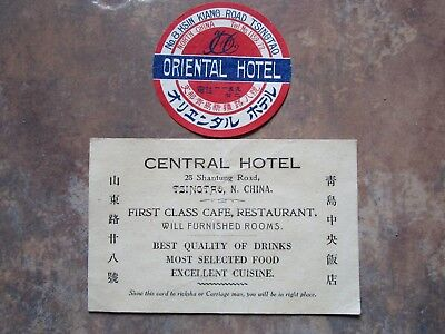 1923-26 US Navy TSINGTAO China Hotel Luggage Tag Label and Business Card.