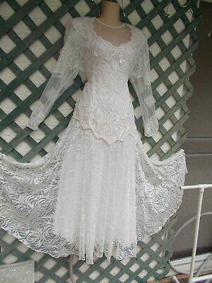 Brilliante Layered White Lace Pearl Sequined Beaded Wedding Gown Dress L New