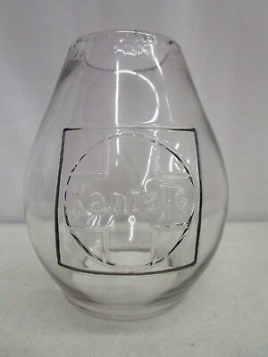 Antique Santa Fe Railroad Tall Cast Lamp Globe - Clear Glass - Very Nice
