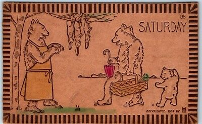 "c1900s BEAR Leather Postcard Artist-Signed W. S. HEAL ""SATURDAY"" Family Picnic"
