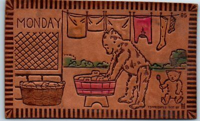 "c1900s BEAR Leather Postcard Artist-Signed W. S. HEAL ""MONDAY"" Doing Laundry"