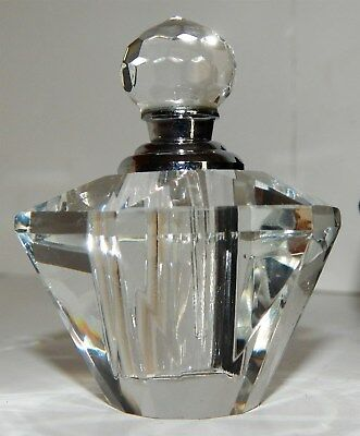 Brand New - Beautiful Cut Glass Perfume Bottle With Screw Top Dipper (Boxed)