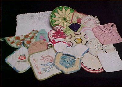 20 Vintage Antique Hand Crocheted + Potholder 1950s Gently USED MIXED LOT Estate