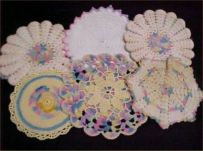 6 Vintage Antique Hand Crocheted Potholder Shabby 1940s Chic All Pastel LOT