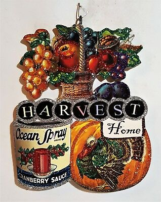 FRUIT BASKET, HARVEST HOME, CRANBERRY * Glitter THANKSGIVING ORNAMENT * Vtg Img