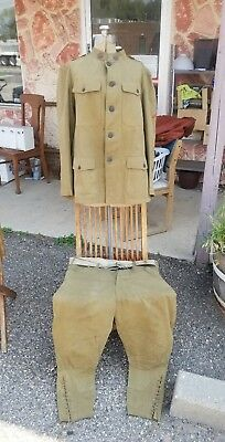 WW1 US Army M1912 Summer  Cotton Tunic Coat & Trousers w Medic Collar Disc Named
