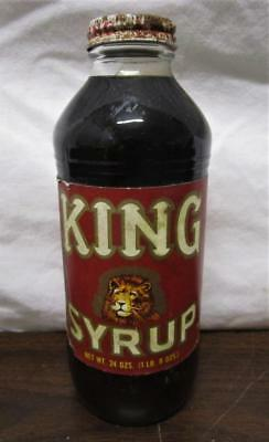 Vintage Nos King Syrup Grocery Store Food 24 Oz. Glass Unopened
