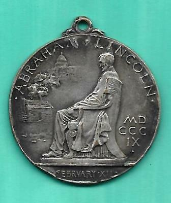 "1909 Abraham Lincoln ""DESTINED TO PRESERVE THE UNION"" Silvered Souvenir Medalet"