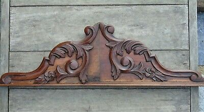 French Vintage Antique Pediment Fronton Plaque Wooden Carved Acanthus Scrolls #2