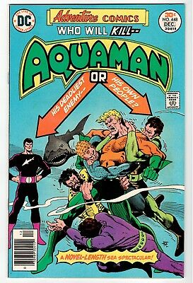 DC: ADVENTURE COMICS #448 Aquaman - Aparo Cover & Art - NM 1976 Vintage Comic