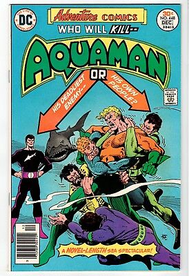 DC: ADVENTURE COMICS #448 Aquaman - Aparo Cover & Art - VF/NM 1976 Vintage Comic