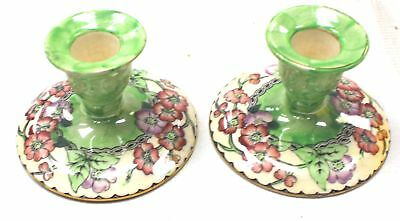 Pair of Vintage Green MALING Pottery Floral Patterned Candlesticks  - W58