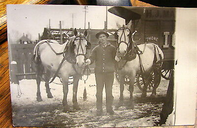 Antique  Real Photo Postcard RPPCard----Man and Horse Team, Probably Kansas