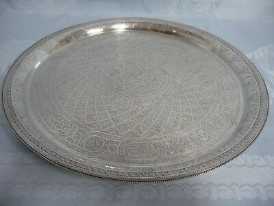 "Beautifully Etched Sterling Islamic Tray, 12-3/4"", Age Unknown, Hallmarks"