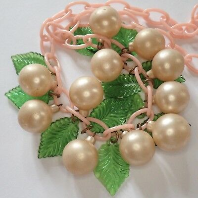 Vintage Art Deco Pink Green Celluloid Pearlescent Glass Dangle Bead Necklace