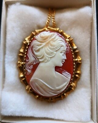 Vintage Salmon Pink Lady Head Cameo Necklace Pendant Brooch Pin Gorgeous!
