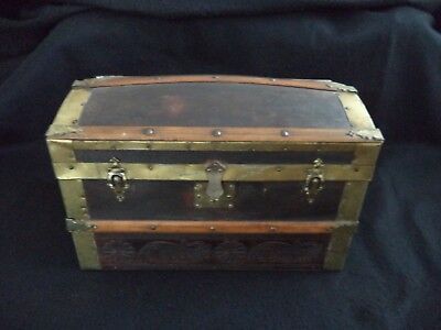 Antique wood child or doll camel-back trunk w till tray 16in leather handles