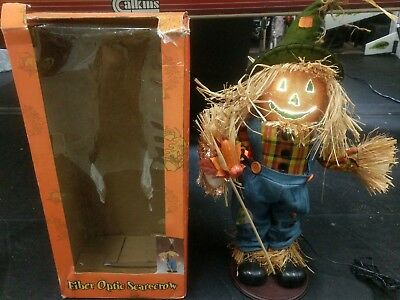 "Kohl's Vintage Halloween 18"" Fiber-Optic Scarecrow w/ Adapter & Replacement Bulb"