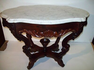 VICTORIAN  WALNUT  MARBLE TOP STAND    1800's