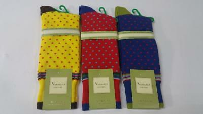 New Men's Vannucci Couture Novelty Small Polka Dot Cotton Blend Dress Socks