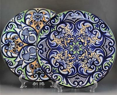 Pair Signed Pascual Zorrilla Ceramic Majolica Chargers Hand Painted Spain