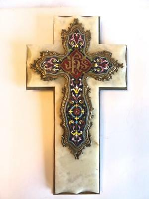 Antique, 19th Century, French Enamels, Champleve, Brass and Marble Cross No Res.