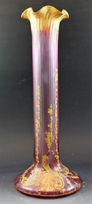 19C American Victorian Art Glass Tall Ribbed Edge Vase w/ Gold Encrusted Flowers