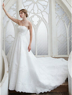 B105 A Line Strapless Lace Wedding Dress Beading Sequin Appliques All Size O