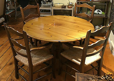 Vintage French Pine Pedstal Table