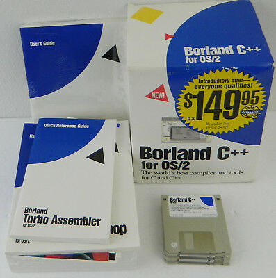 """Borland C& C++ for OS/2 Compiler & Tools 7 Disk FDD 3.5"""" Document Books Box"""