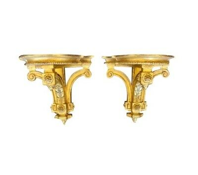 Pair of Antique Louis XVI Style Gilt-wood Corbel Bracket Sconces