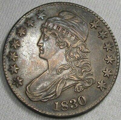 1830 Large 'O' Capped Bust Silver Half Dollar CH XF Coin AG42
