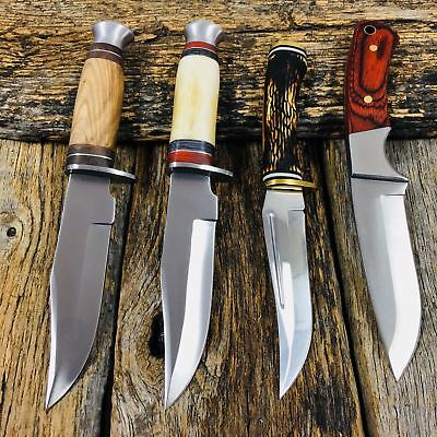 4PC SET Fixed Blade Hunting Knife Outdoor Survival Bowie Camping + Sheath